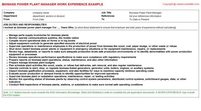 plant manager job description