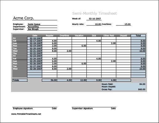 Semi-monthly Timesheet (horizontal orientation, work hours entered ...
