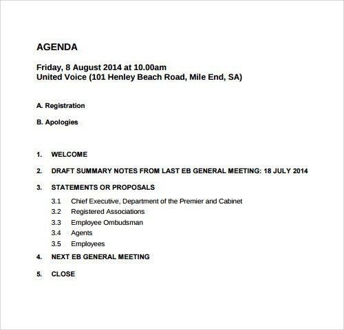 Sample Agenda For Meetings  BesikEightyCo