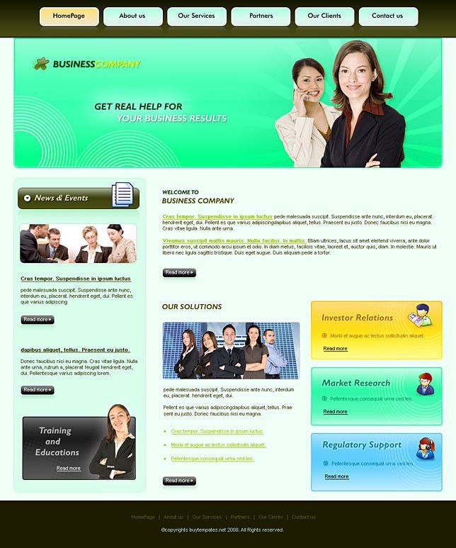 Simple css web template for business training companies