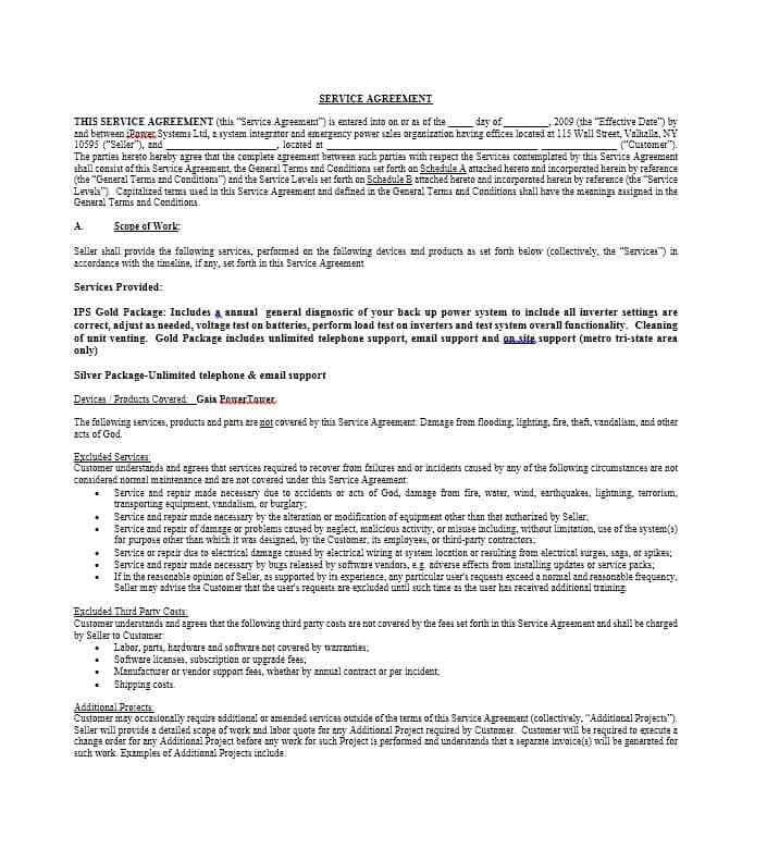 Template For Service Agreement. maintenance agreement template ...