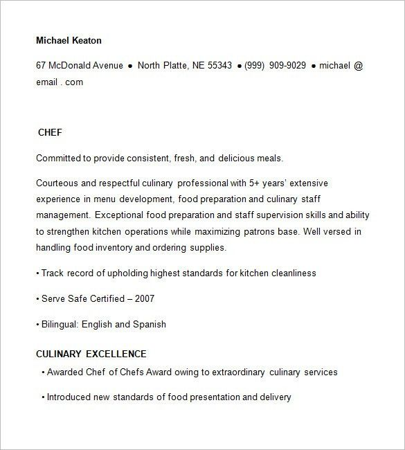 Download Free Professional Resume Templates. Chef Resume Template ...