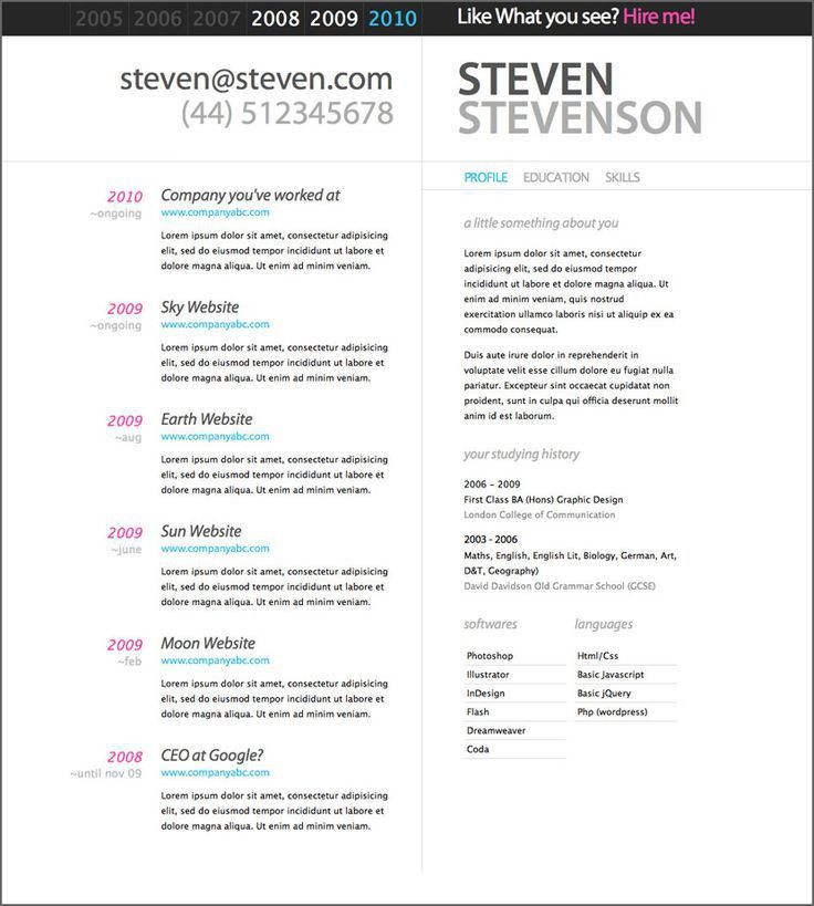 43 best CV and portfolio inspiration images on Pinterest | Resume ...