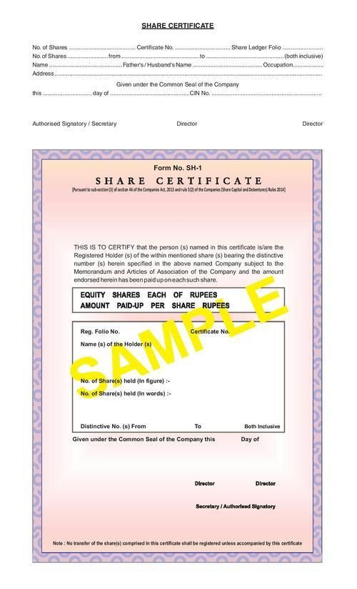Share Certificate Form SH-1 in Vaishali, Ghaziabad - Exporter and ...