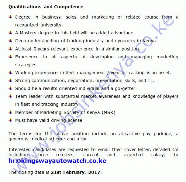 Kingsway Autowatch Sales and Marketing Manager Vacancy in Kenya ...