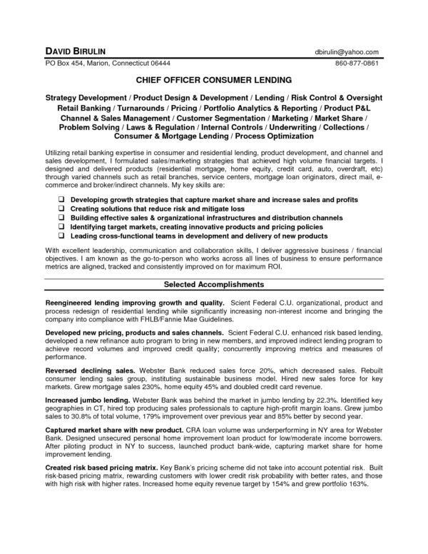 Creative Chief Officer Consumer Lending for Loan Officer Resume ...