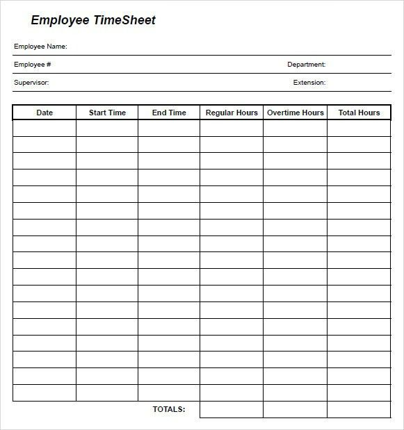Free Timesheet Template Word  Ms Word Timesheet Templates Free