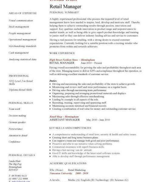 Beautiful Looking Retail Resume Sample 11 CV Template Sales ...