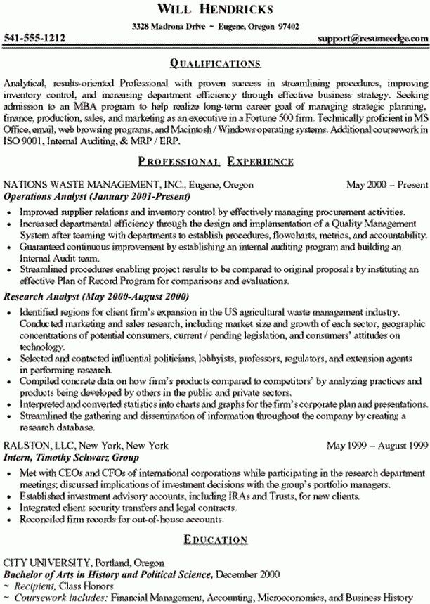 Resume For Mba Application Cover Letter - Mba Application Resume Format
