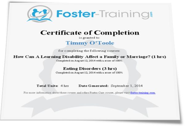 Foster Training Certificates | Foster-Training.com