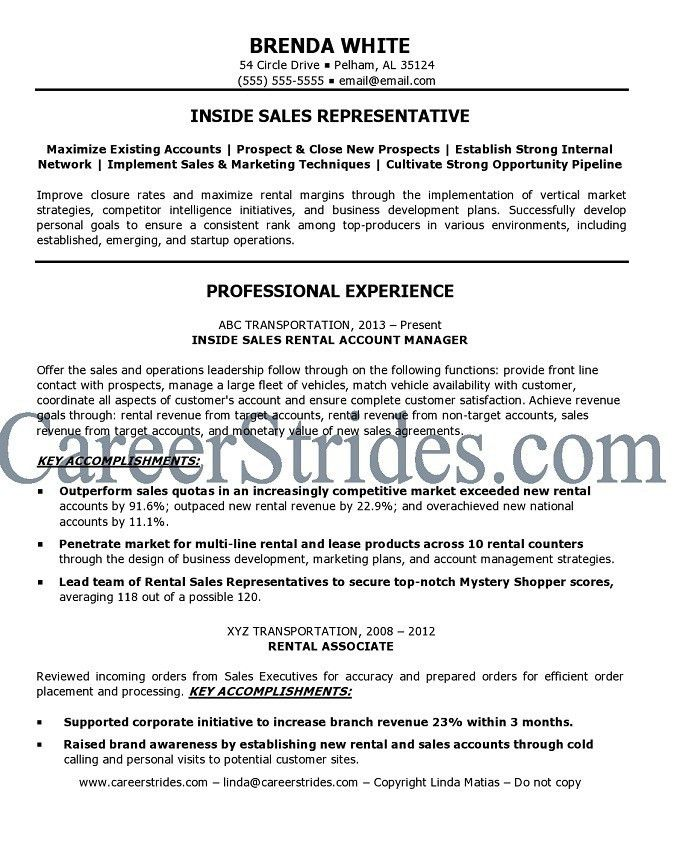 Inside Sales Resume Objective. retail store manager resume example ...