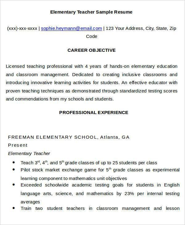25 Simple Teacher Resumes - Free Word, PDF Documents Download ...