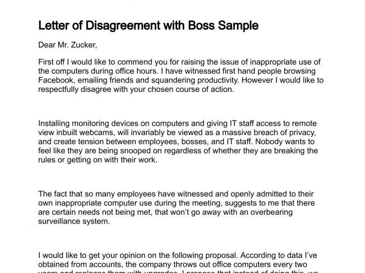 Letter of Disagreement
