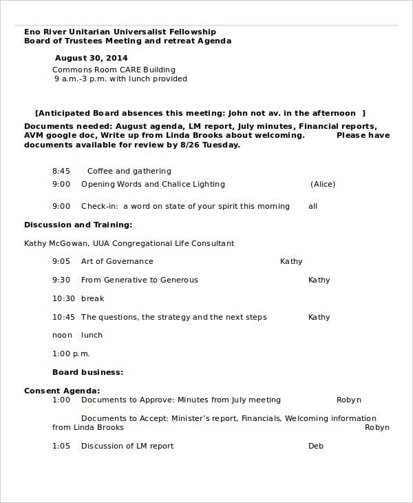 Retreat Agenda Template - 7+ Free Word, PDF Documents Download ...