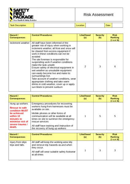 Working At Height Risk Assessment Example to Download