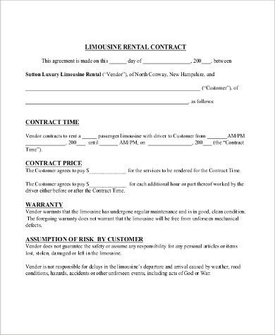 Rent Contract Sample - 9+ Examples in PDF, Word