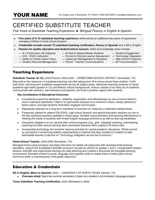 Incredible Substitute Teacher Resume Objective | Resume Format Web