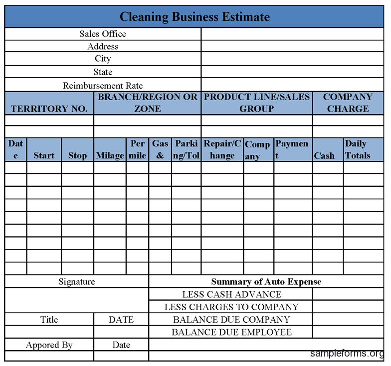 Auto Expense Report Form | Sample Forms