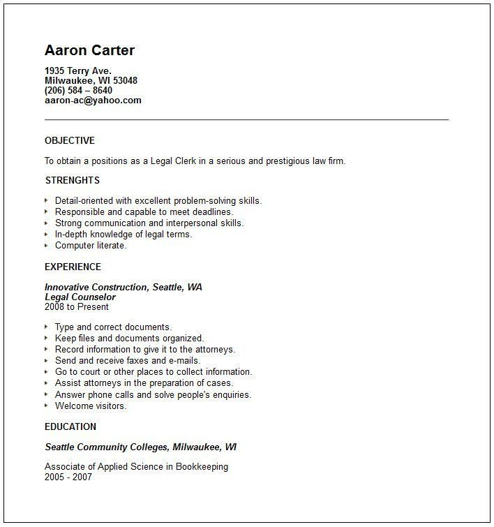 Collection of Solutions Sample Law Clerk Resume For Form - Gallery ...