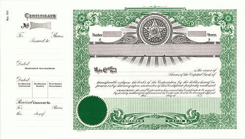 "OKLAHOMA Blank Stock Certificates GOES #150 15 x 8 1/2 with 4"" Stub"