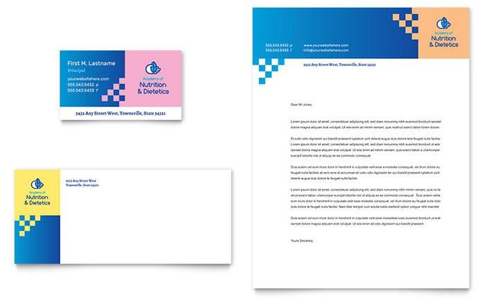 Dietitian Business Card & Letterhead Template - Word & Publisher
