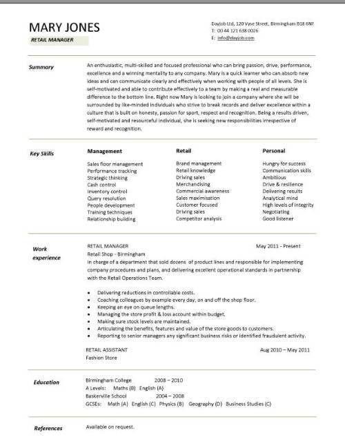 Retail CV template, sales environment, sales assistant CV, shop ...