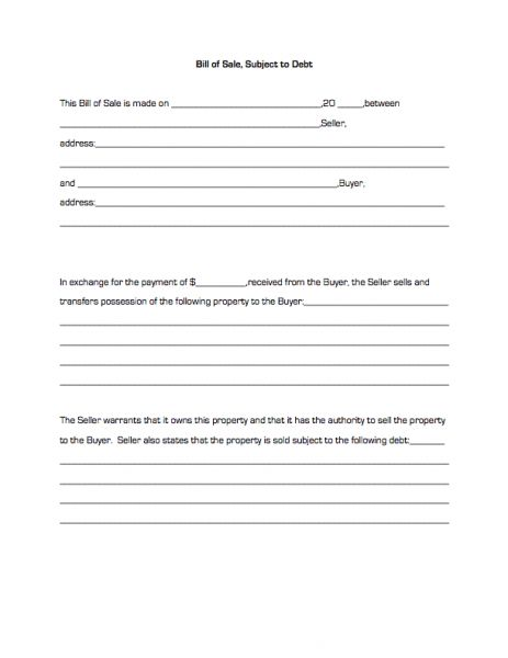 Bill of Sale, Subject to Debt | Business Forms
