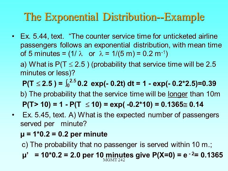 """MGMT 242 Special Probability Distributions Chapter 5 """"A throw of ..."""