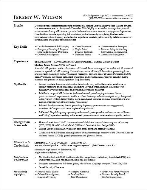This sample resume shows how you can translate your military ...