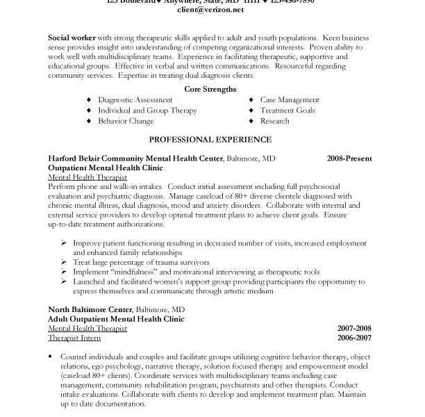 Mental Health Worker Resume | Blank.csat.co