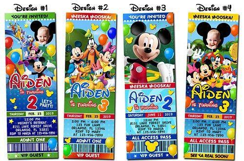 Mickey Mouse Bounce Birthday Party Ticket Pass Photo Invitation ...