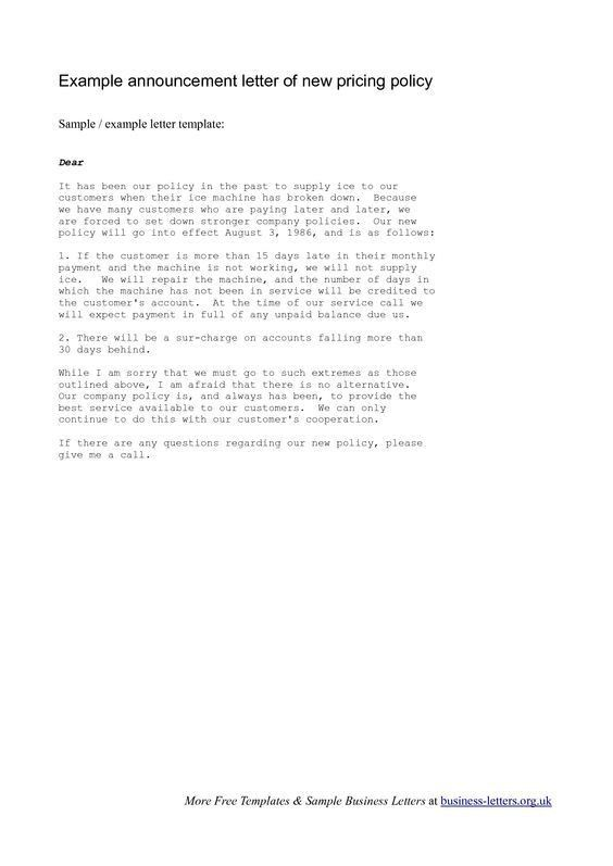 Announcement Letter Template. Business Transfer Notification ...