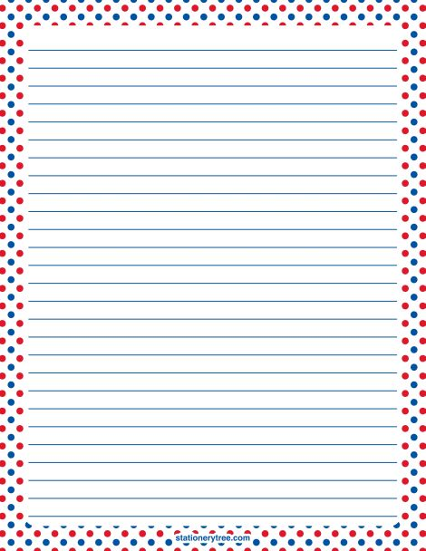 Printable patriotic red, white, and blue polka dot stationery and ...