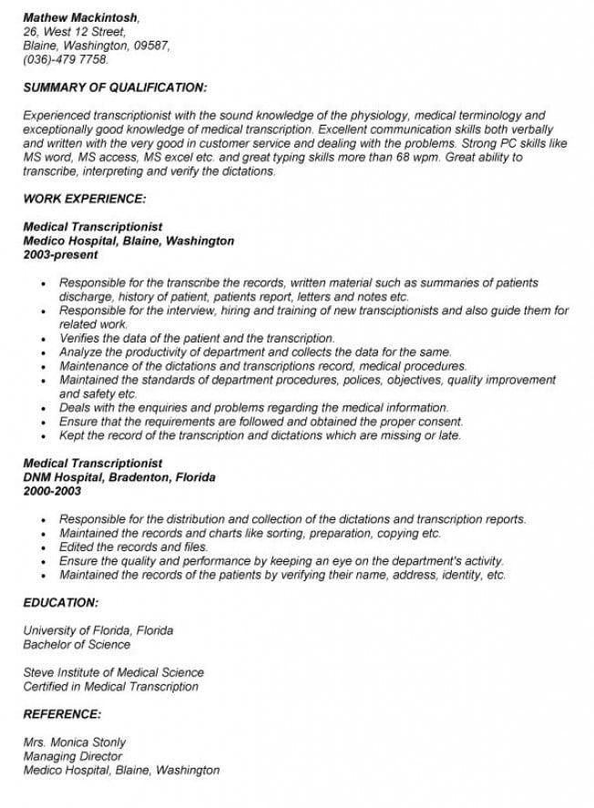 Resume for transcriptionist \ Eaton thesis paper
