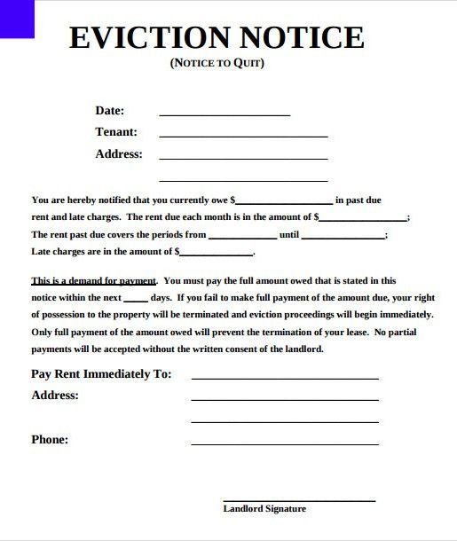 Sample Printable Eviction Notice Form Template - Excel About