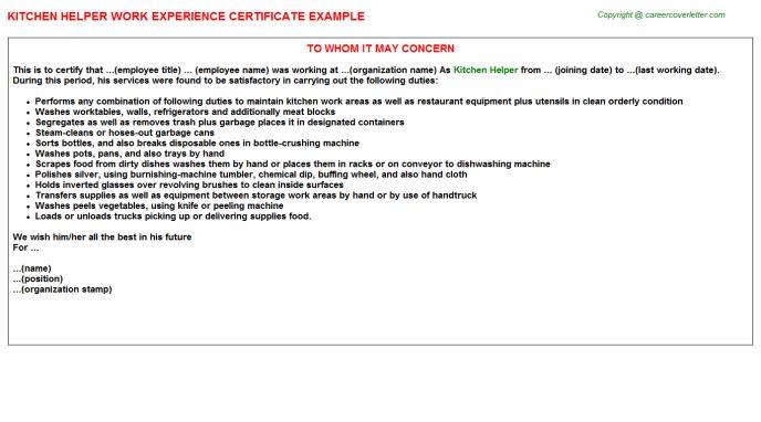 Kitchen Helper Work Experience Certificate