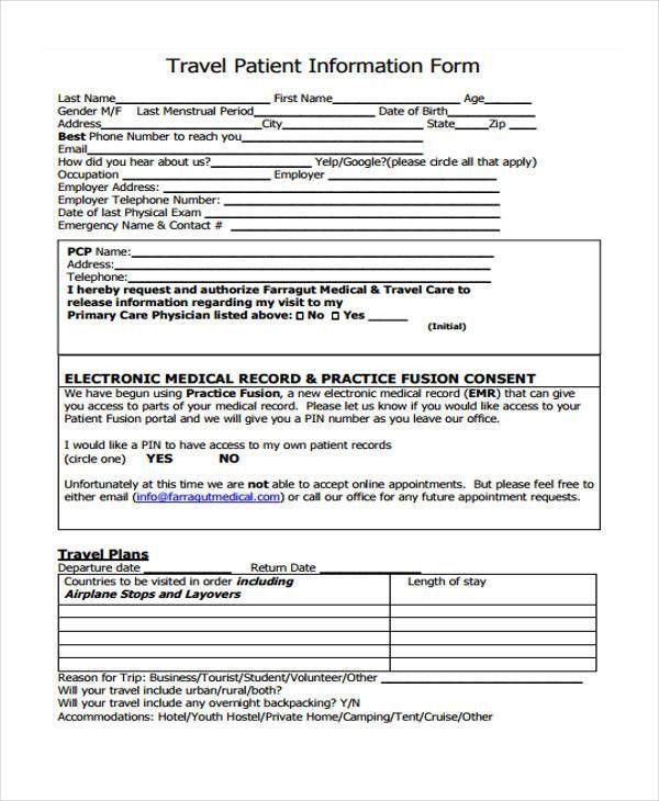 Free Travel Form