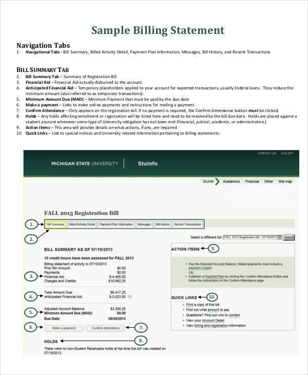 6+ Billing Statement Examples, Samples