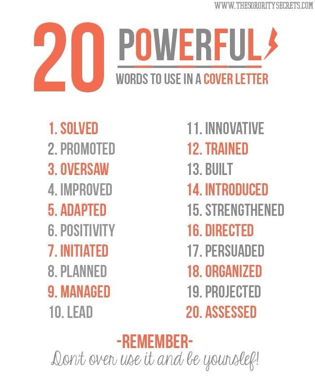 Powerful words to use when writing your cover letter | • Career ...