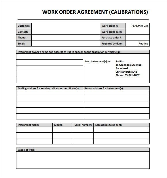 Work Order Template Word [DOC]- Free Work Order Templates!!