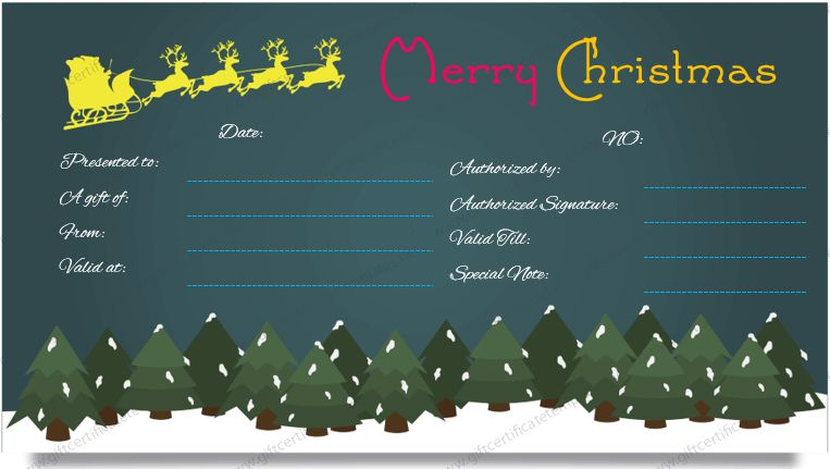 Christmas Gift Certificate Template (Dark Night Design)