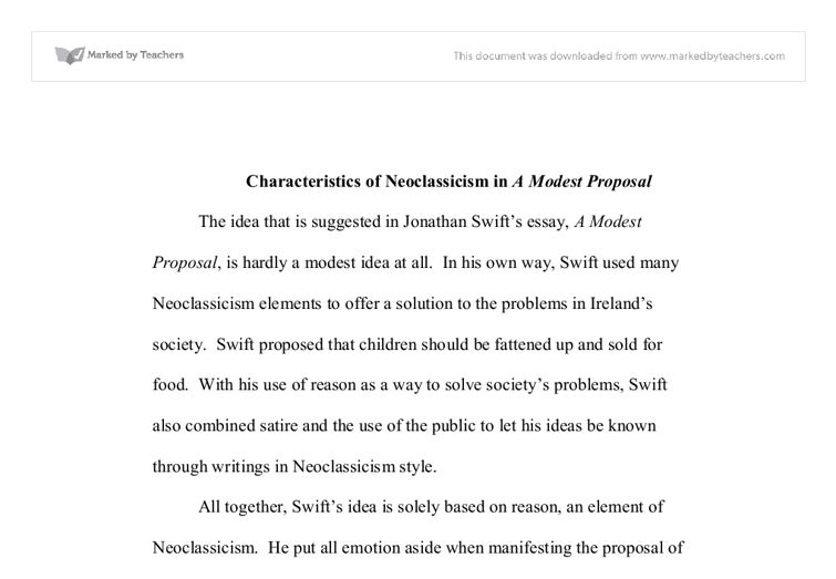 Characteristics of Neoclassicism in A Modest Proposal - University ...
