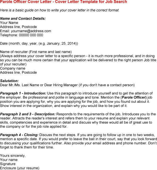 Parole Cover Letter] Probation And Parole Officer Cover Letter