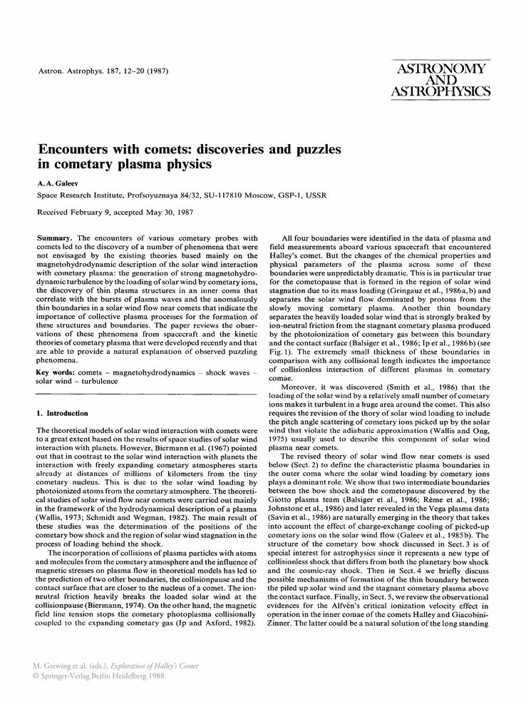 Encounters with comets: discoveries and puzzles in cometary plasma ...