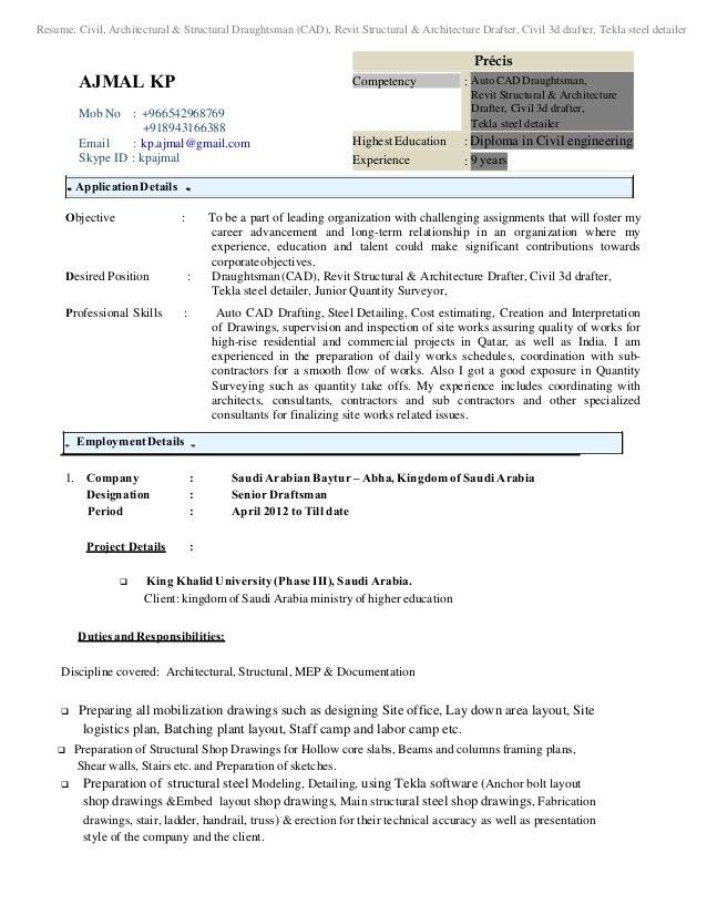Architectural Draftsperson Resume Sample - Contegri.com