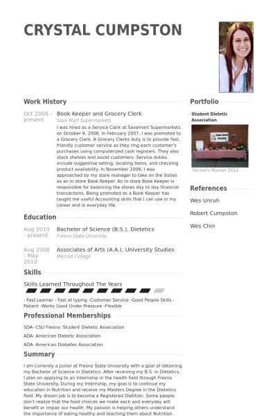 Grocery Clerk Resume samples - VisualCV resume samples database
