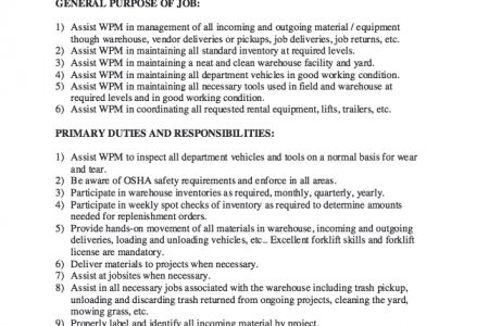 General Warehouse Worker Cover Letter