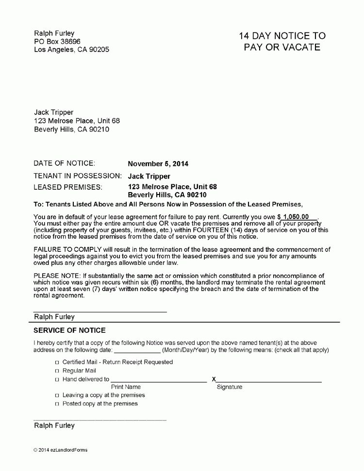 Tennessee 14 Day Notice to Pay or Vacate | EZ Landlord Forms