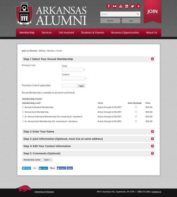 iModules Software - Membership: University of Arkansas Alumni
