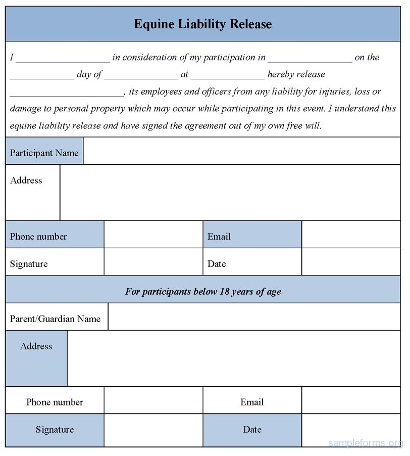 Printable Sample Liability Release Form Template Form   Legal ...